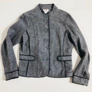 TALBOTS JACKET Merino Wool Button Front Black Trim